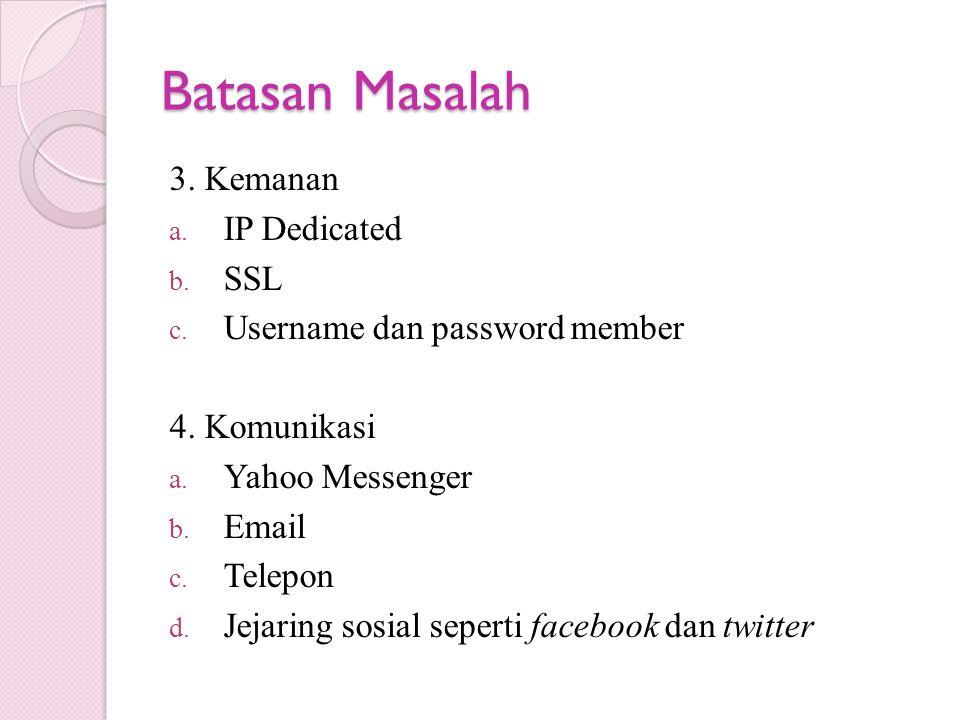 Batasan Masalah 3. Kemanan a. IP Dedicated b. SSL c. Username dan password member 4. Komunikasi a. Yahoo Messenger b. Email c. Telepon d. Jejaring sos