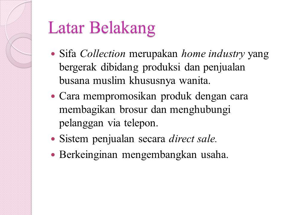Latar Belakang Sifa Collection merupakan home industry yang bergerak dibidang produksi dan penjualan busana muslim khususnya wanita. Cara mempromosika