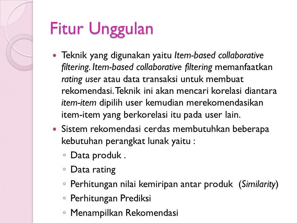 Fitur Unggulan Teknik yang digunakan yaitu Item-based collaborative filtering. Item-based collaborative filtering memanfaatkan rating user atau data t