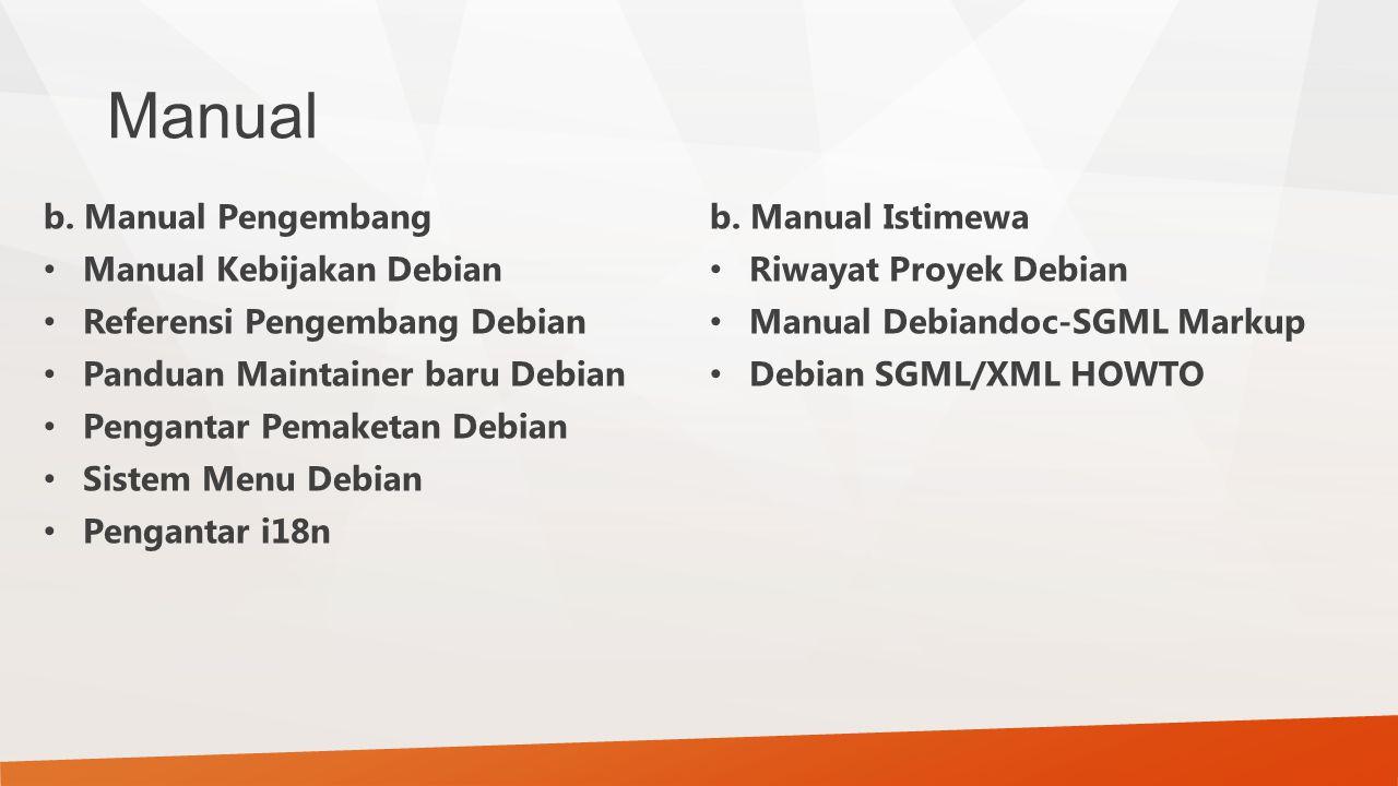 Manual b. Manual Pengembang Manual Kebijakan Debian Referensi Pengembang Debian Panduan Maintainer baru Debian Pengantar Pemaketan Debian Sistem Menu