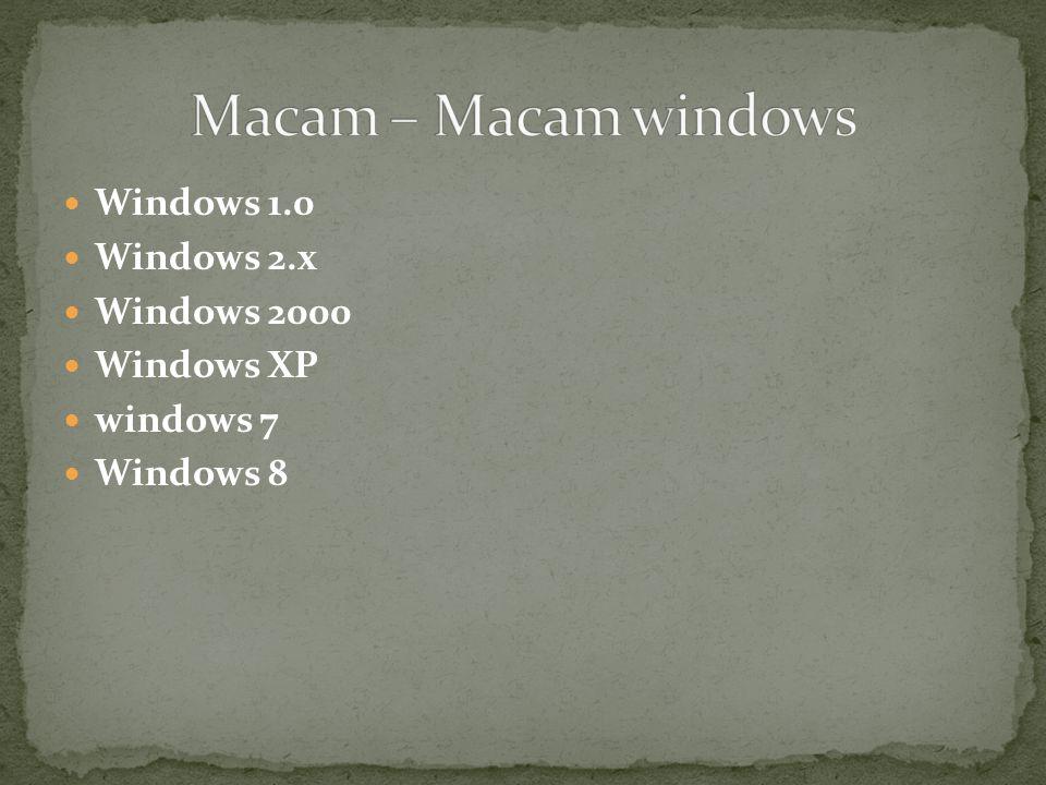 Windows 1.0 Windows 2.x Windows 2000 Windows XP windows 7 Windows 8