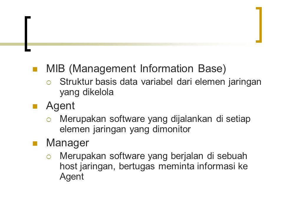 MIB (Management Information Base)  Struktur basis data variabel dari elemen jaringan yang dikelola Agent  Merupakan software yang dijalankan di setiap elemen jaringan yang dimonitor Manager  Merupakan software yang berjalan di sebuah host jaringan, bertugas meminta informasi ke Agent
