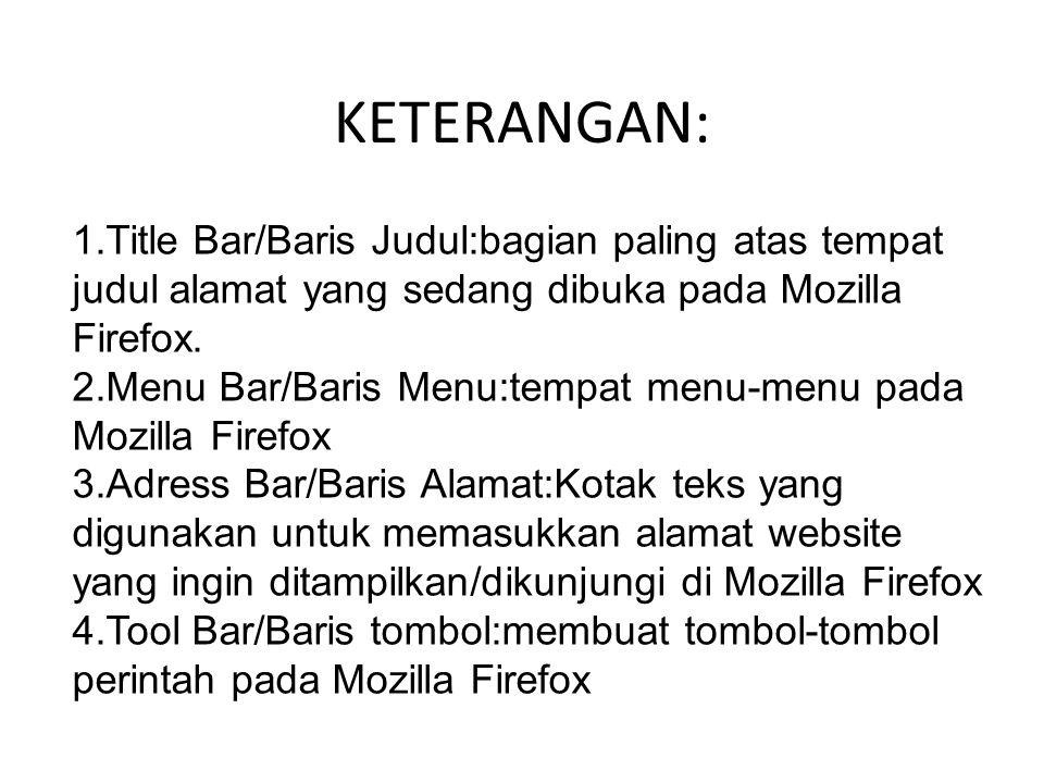 KETERANGAN: 1.Title Bar/Baris Judul:bagian paling atas tempat judul alamat yang sedang dibuka pada Mozilla Firefox. 2.Menu Bar/Baris Menu:tempat menu-