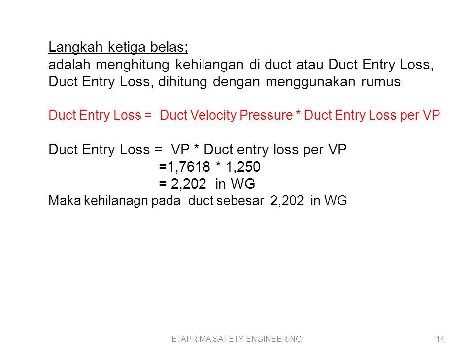 ETAPRIMA SAFETY ENGINEERING13 Langkah kedua belas; Duct Entry Loss per VP Duct entry loss per VP, dihitung dengan menggunakan rumus, Duct entry loss per VP = Duct entry loss factor + Acceleration factor Duct entry loss per VP = 0,250 + 1 = 1,250 Dimana, Acceleration factor = 1 (Acceleration factor diambil bilangan 0 atau 1)
