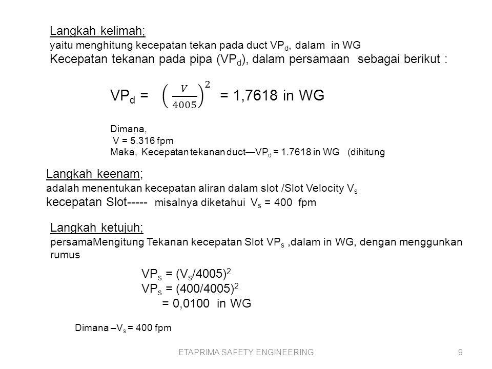 ETAPRIMA SAFETY ENGINEERING8 Langakah keempat; adalah mnghitung kecepatan duct actual/Actual Duct Velocity=.V, dari persamaan Q = V*A, V=Q/A, V=(19600