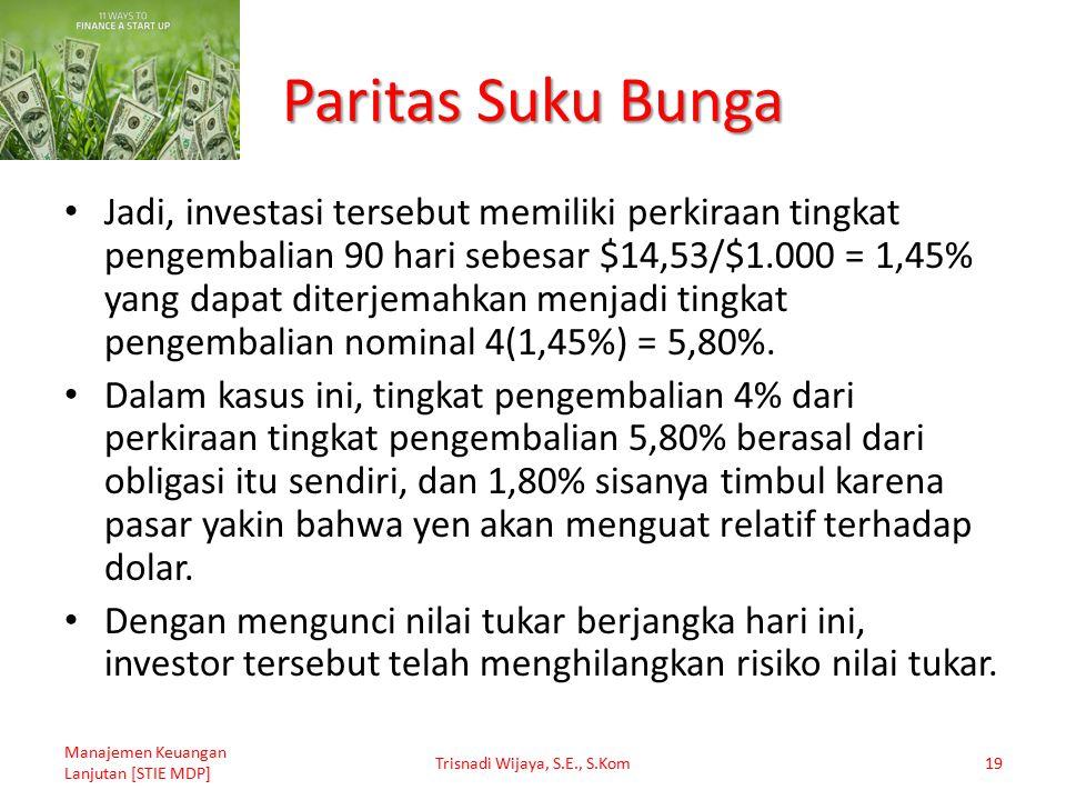 Paritas Suku Bunga Jadi, investasi tersebut memiliki perkiraan tingkat pengembalian 90 hari sebesar $14,53/$1.000 = 1,45% yang dapat diterjemahkan men