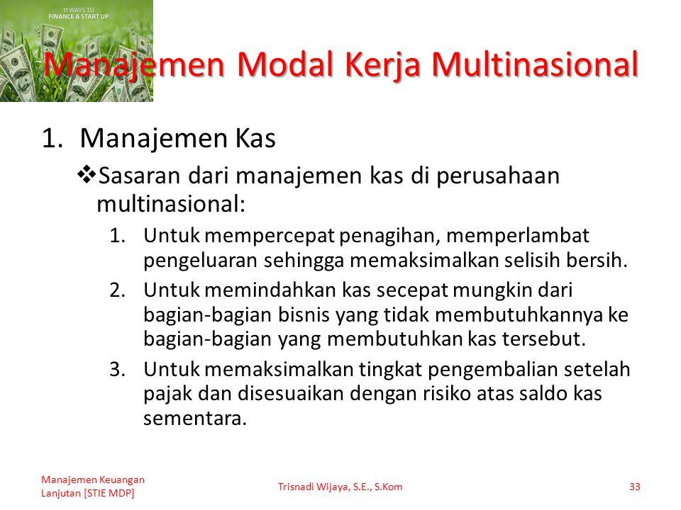 Manajemen Modal Kerja Multinasional 1.Manajemen Kas  Sasaran dari manajemen kas di perusahaan multinasional: 1.Untuk mempercepat penagihan, memperlam
