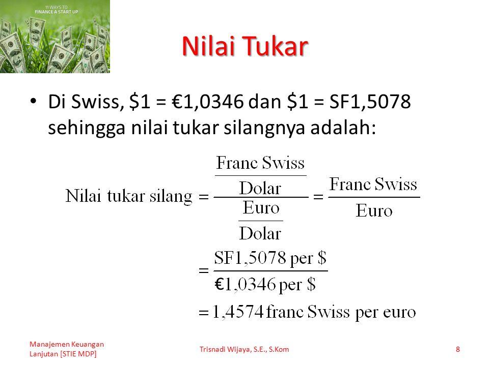 Nilai Tukar Di Swiss, $1 = €1,0346 dan $1 = SF1,5078 sehingga nilai tukar silangnya adalah: Manajemen Keuangan Lanjutan [STIE MDP] Trisnadi Wijaya, S.