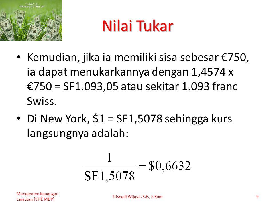Nilai Tukar Kemudian, jika ia memiliki sisa sebesar €750, ia dapat menukarkannya dengan 1,4574 x €750 = SF1.093,05 atau sekitar 1.093 franc Swiss. Di