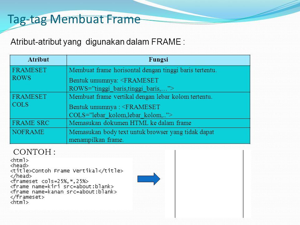 Tag-tag Membuat Frame Atribut-atribut yang digunakan dalam FRAME : AtributFungsi FRAMESET ROWS Membuat frame horisontal dengan tinggi baris tertentu.