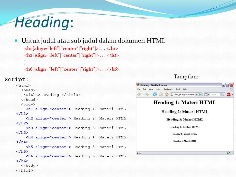 Heading: Untuk judul atau sub judul dalam dokumen HTML....... Script: Heading Heading 1: Materi HTML Heading 2: Materi HTML Heading 3: Materi HTML Hea