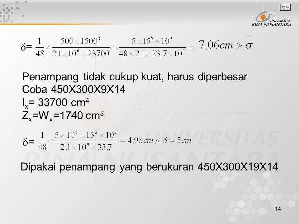 14 == Penampang tidak cukup kuat, harus diperbesar Coba 450X300X9X14 I x = 33700 cm 4 Z x =W x =1740 cm 3 == Dipakai penampang yang berukuran 450X