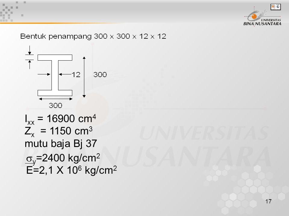 17 I xx = 16900 cm 4 Z x = 1150 cm 3 mutu baja Bj 37  y =2400 kg/cm 2 E=2,1 X 10 6 kg/cm 2
