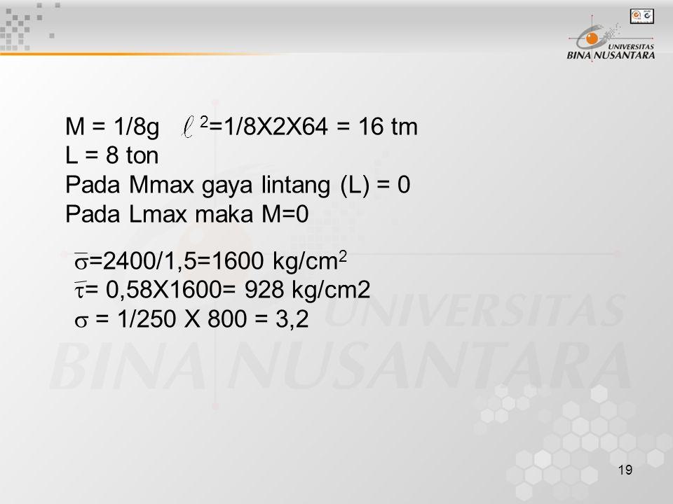 19 M = 1/8g 2 =1/8X2X64 = 16 tm L = 8 ton Pada Mmax gaya lintang (L) = 0 Pada Lmax maka M=0  =2400/1,5=1600 kg/cm 2  = 0,58X1600= 928 kg/cm2  = 1/2