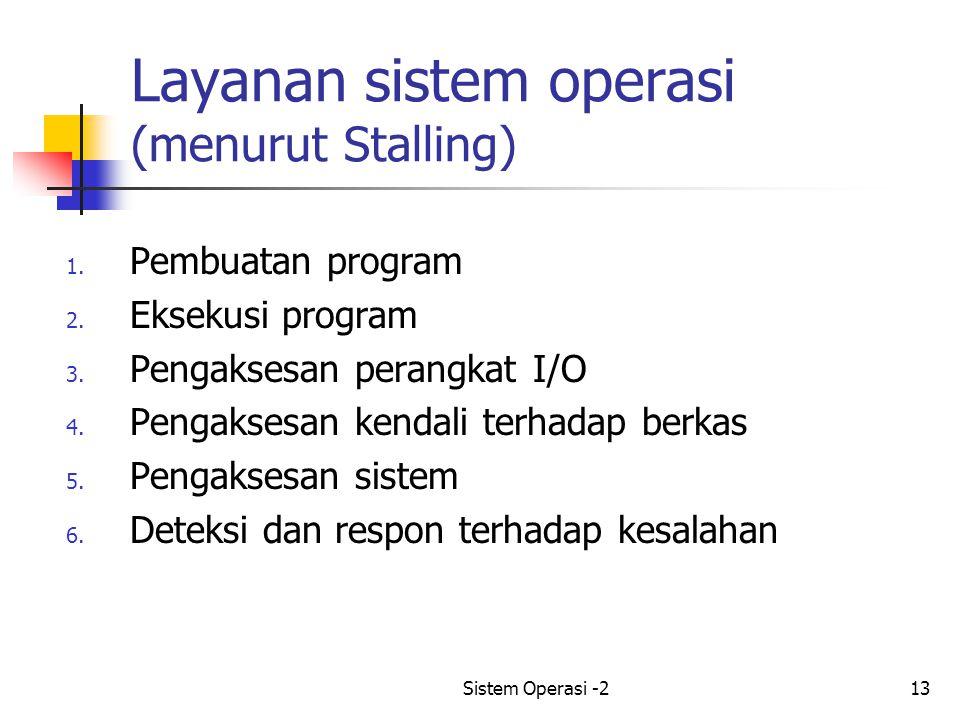 Sistem Operasi -213 Layanan sistem operasi (menurut Stalling) 1.