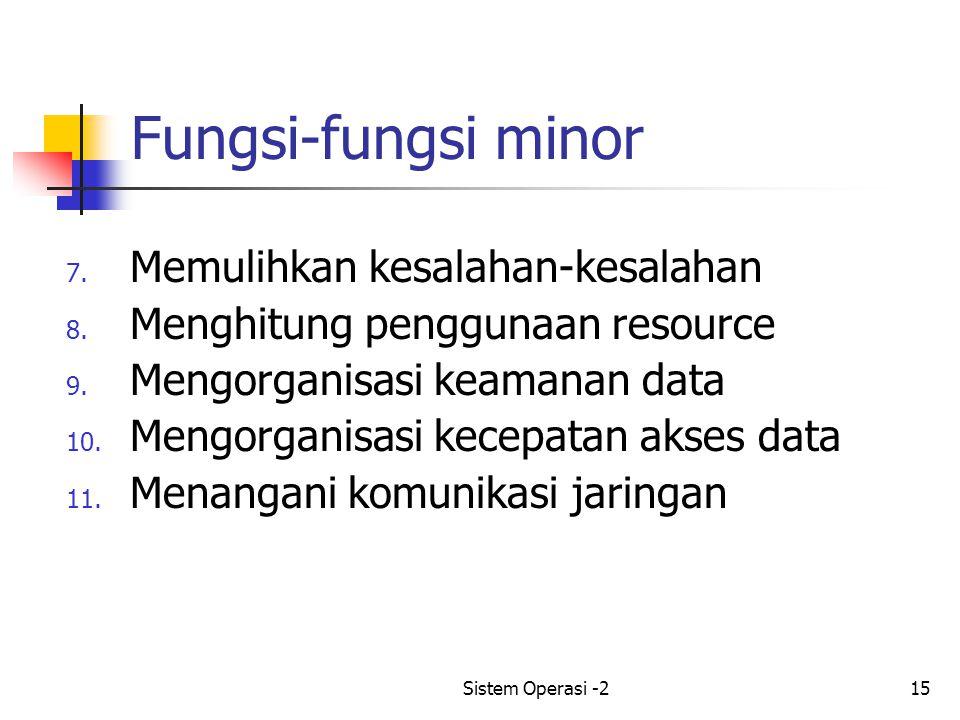 Sistem Operasi -215 Fungsi-fungsi minor 7.Memulihkan kesalahan-kesalahan 8.