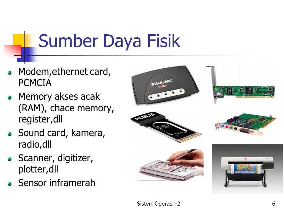 Sistem Operasi -26 Sumber Daya Fisik Modem,ethernet card, PCMCIA Memory akses acak (RAM), chace memory, register,dll Sound card, kamera, radio,dll Scanner, digitizer, plotter,dll Sensor inframerah