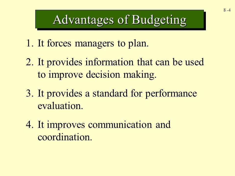 8 -5 Master budget adalah rencana keuangan komprehensif bagi organisasi secara keseluruhan.