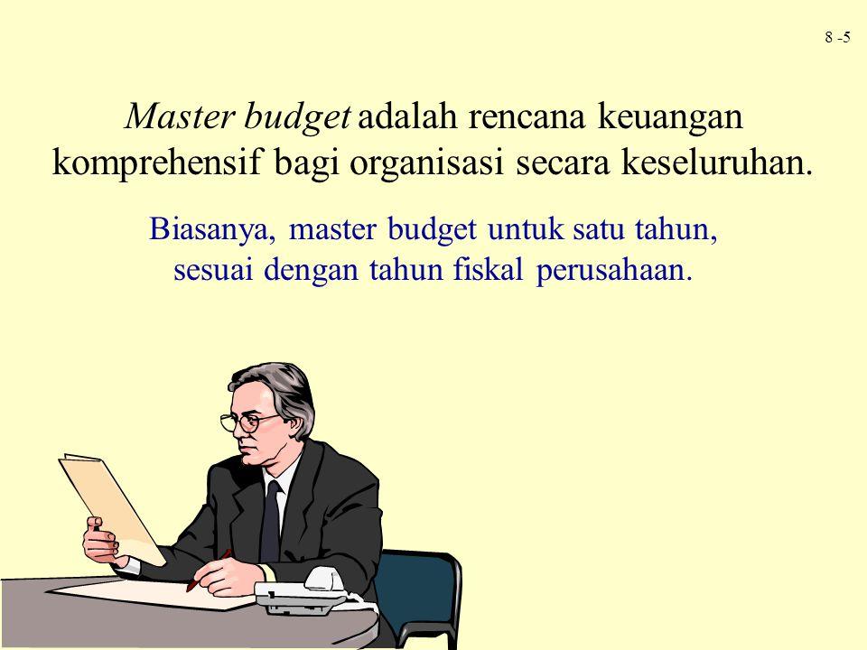 8 -6 Master budget dapat dibagi menjadi anggaran operasi dan anggaran finansial.