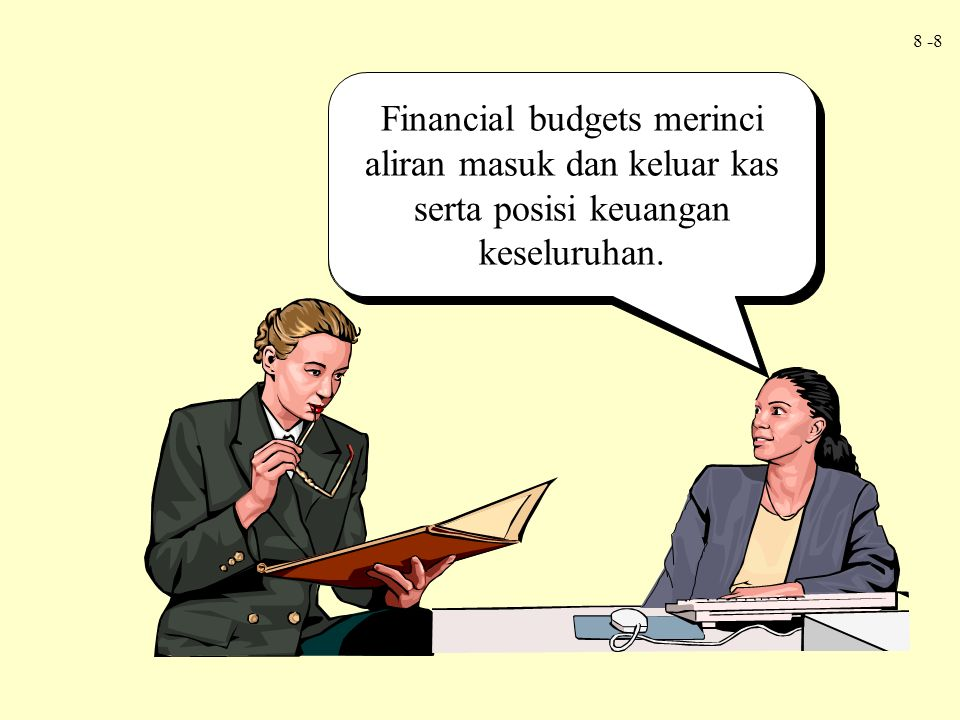 8 -8 Operating budgets describe the income-generating activities of a firm. Financial budgets merinci aliran masuk dan keluar kas serta posisi keuanga