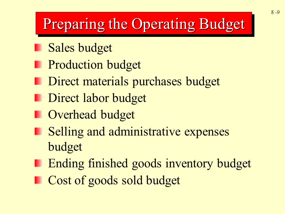 8 -40 Goal congruence Dysfunctional behavior Frequent feedback on performance Monetary and nonmonetary incentives Participative budgeting Realistic standards Controllability of costs Multiple measures of performance Behavior Dimensions of Budgeting