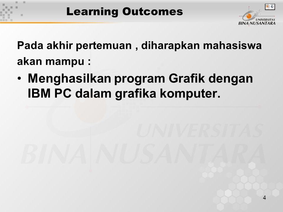 4 Learning Outcomes Pada akhir pertemuan, diharapkan mahasiswa akan mampu : Menghasilkan program Grafik dengan IBM PC dalam grafika komputer.