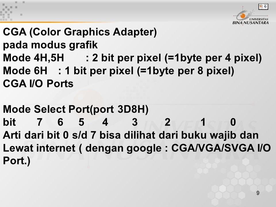 10 VGA ( Video Graphics Array) Mode 4H,5H : 2bit per pixel (=1 byte per 4 pixel) Mode 6H : 1bit per pixel (=1 byte per 8 pixel) Mode DH,EH,FH 10H,11H, 12 H, 13H, dst Bentuk Umum Register Full Register AX 2 byte BX 2 byte CX 2 byte DX 2 byte