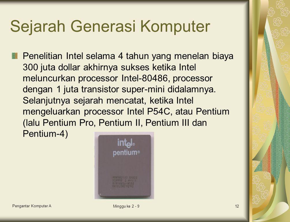 Sejarah Generasi Komputer Penelitian Intel selama 4 tahun yang menelan biaya 300 juta dollar akhirnya sukses ketika Intel meluncurkan processor Intel-80486, processor dengan 1 juta transistor super-mini didalamnya.