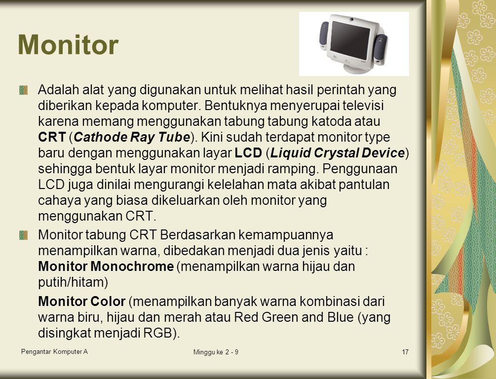 Monitor Adalah alat yang digunakan untuk melihat hasil perintah yang diberikan kepada komputer. Bentuknya menyerupai televisi karena memang menggunaka