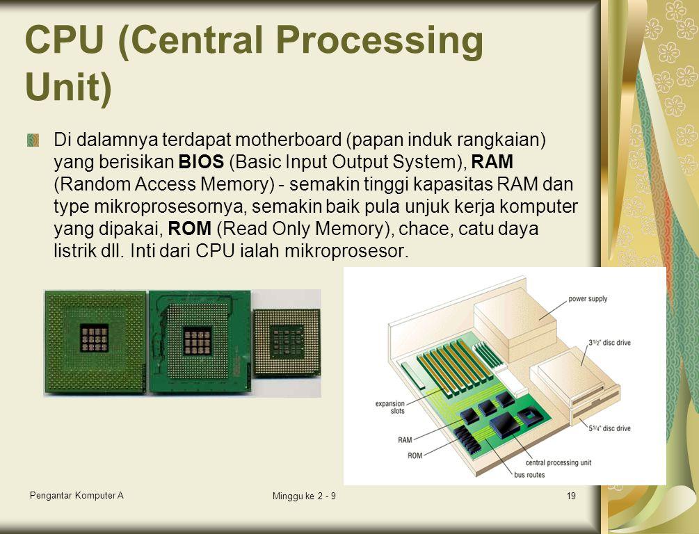 CPU (Central Processing Unit) Di dalamnya terdapat motherboard (papan induk rangkaian) yang berisikan BIOS (Basic Input Output System), RAM (Random Access Memory) - semakin tinggi kapasitas RAM dan type mikroprosesornya, semakin baik pula unjuk kerja komputer yang dipakai, ROM (Read Only Memory), chace, catu daya listrik dll.