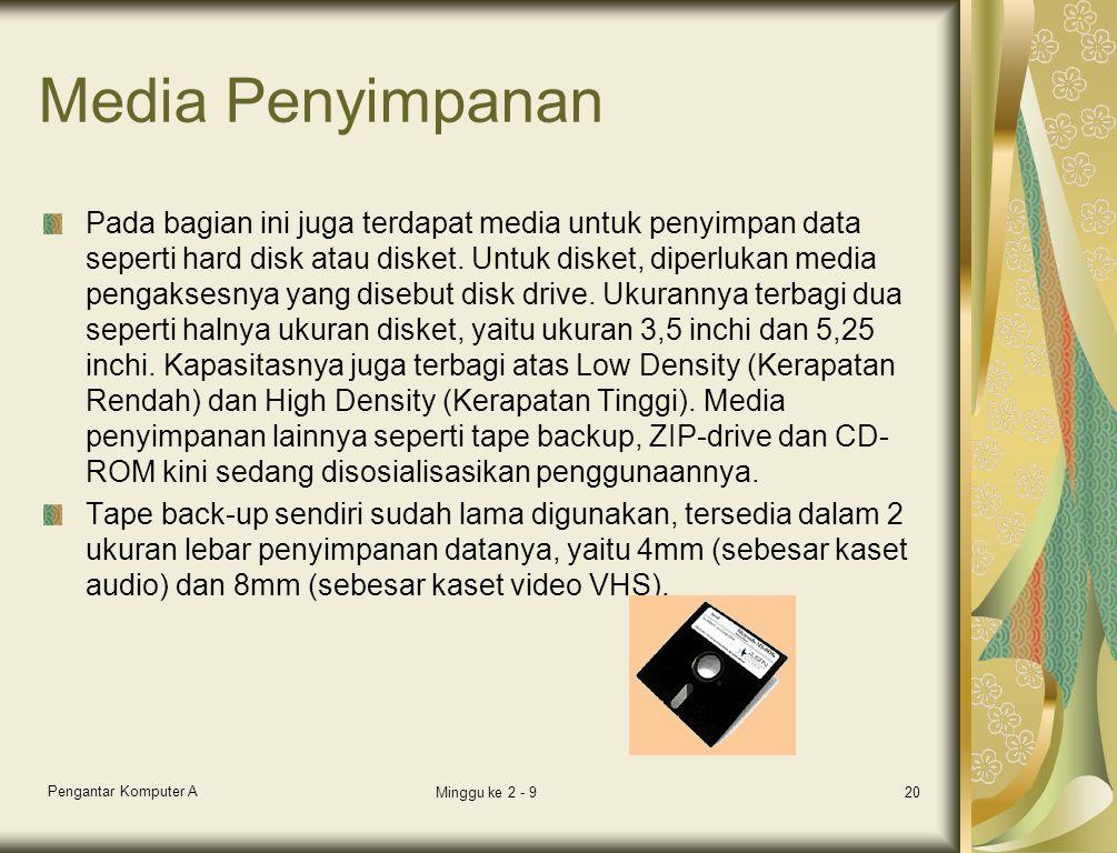 Media Penyimpanan Pada bagian ini juga terdapat media untuk penyimpan data seperti hard disk atau disket. Untuk disket, diperlukan media pengaksesnya