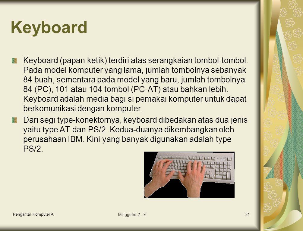 Keyboard Keyboard (papan ketik) terdiri atas serangkaian tombol-tombol. Pada model komputer yang lama, jumlah tombolnya sebanyak 84 buah, sementara pa