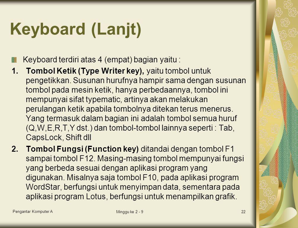 Keyboard (Lanjt) Keyboard terdiri atas 4 (empat) bagian yaitu : 1.Tombol Ketik (Type Writer key), yaitu tombol untuk pengetikkan. Susunan hurufnya ham