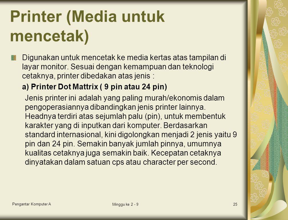 Printer (Media untuk mencetak) Digunakan untuk mencetak ke media kertas atas tampilan di layar monitor. Sesuai dengan kemampuan dan teknologi cetaknya