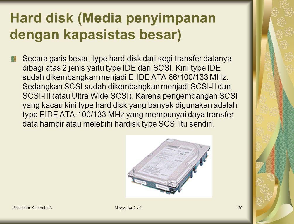 Hard disk (Media penyimpanan dengan kapasistas besar) Secara garis besar, type hard disk dari segi transfer datanya dibagi atas 2 jenis yaitu type IDE dan SCSI.