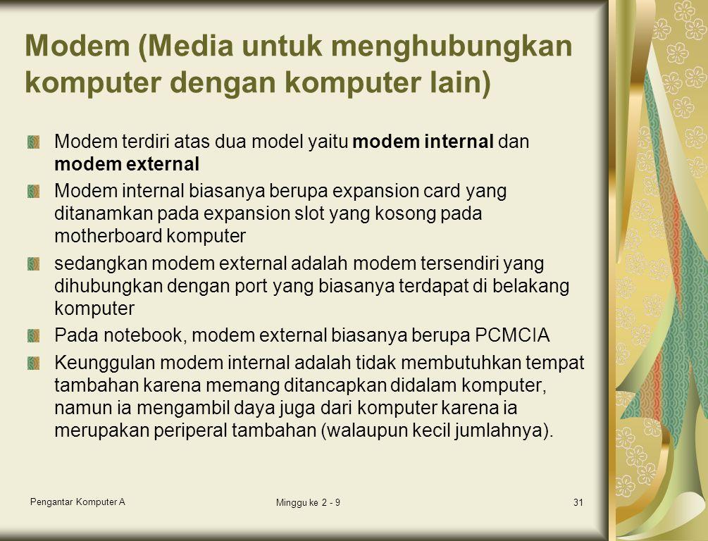 Modem (Media untuk menghubungkan komputer dengan komputer lain) Modem terdiri atas dua model yaitu modem internal dan modem external Modem internal biasanya berupa expansion card yang ditanamkan pada expansion slot yang kosong pada motherboard komputer sedangkan modem external adalah modem tersendiri yang dihubungkan dengan port yang biasanya terdapat di belakang komputer Pada notebook, modem external biasanya berupa PCMCIA Keunggulan modem internal adalah tidak membutuhkan tempat tambahan karena memang ditancapkan didalam komputer, namun ia mengambil daya juga dari komputer karena ia merupakan periperal tambahan (walaupun kecil jumlahnya).