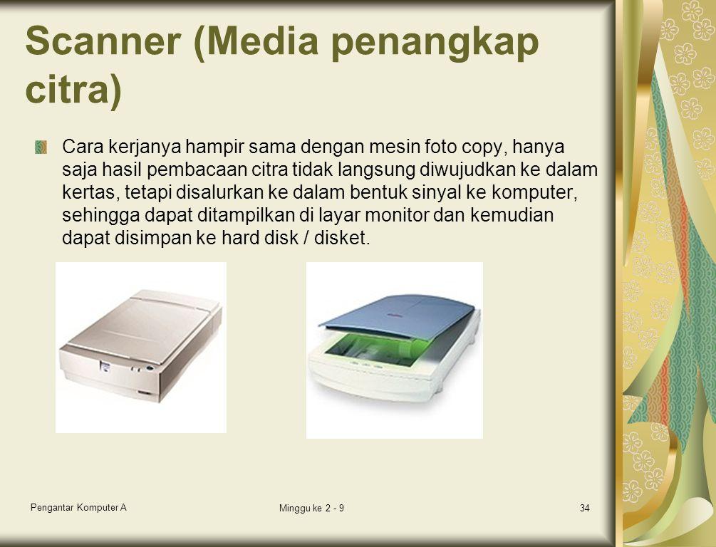 Scanner (Media penangkap citra) Cara kerjanya hampir sama dengan mesin foto copy, hanya saja hasil pembacaan citra tidak langsung diwujudkan ke dalam kertas, tetapi disalurkan ke dalam bentuk sinyal ke komputer, sehingga dapat ditampilkan di layar monitor dan kemudian dapat disimpan ke hard disk / disket.