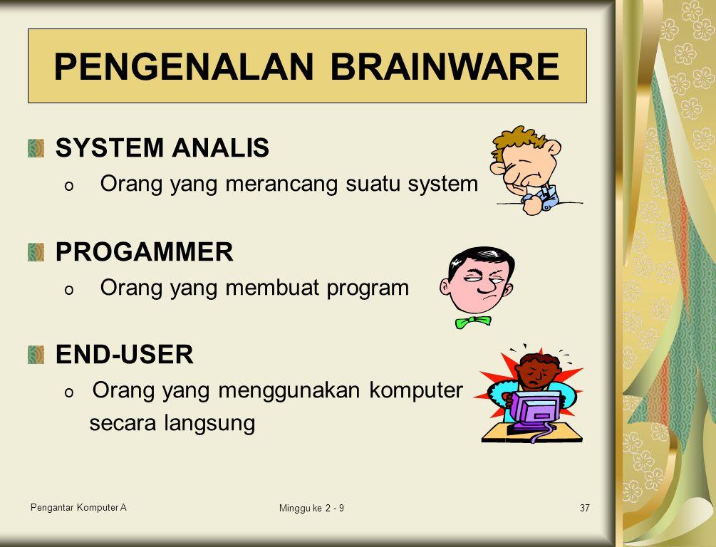 Pengantar Komputer A Minggu ke 2 - 937 SYSTEM ANALIS o Orang yang merancang suatu system PROGAMMER o Orang yang membuat program END-USER o Orang yang menggunakan komputer secara langsung PENGENALAN BRAINWARE