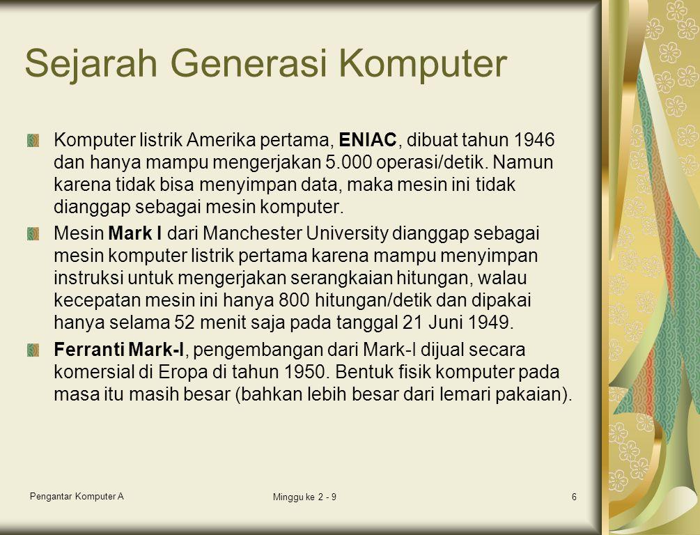 Sejarah Generasi Komputer Komputer listrik Amerika pertama, ENIAC, dibuat tahun 1946 dan hanya mampu mengerjakan 5.000 operasi/detik.