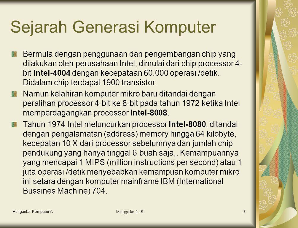 Sejarah Generasi Komputer Bermula dengan penggunaan dan pengembangan chip yang dilakukan oleh perusahaan Intel, dimulai dari chip processor 4- bit Intel-4004 dengan kecepataan 60.000 operasi /detik.