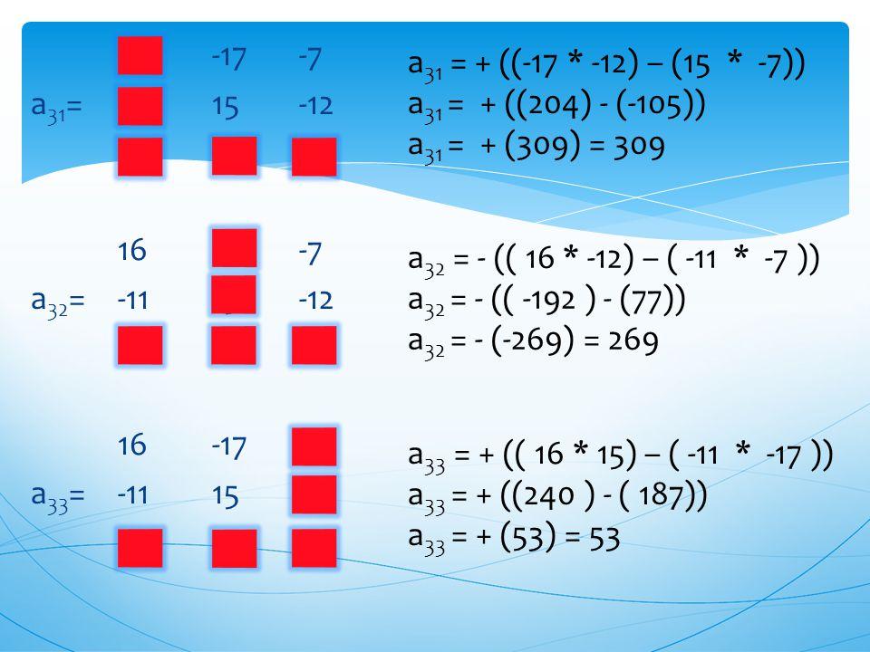 16 -17 -7 a 21 = -11 15 -12 19 -15 1 16 -17 -7 a 22 =-11 15 -12 19 -15 1 16 -17 -7 a 23 =-11 15 -12 19 -15 1 a 22 = + (( 16 * 1) – ( 19 * -7 )) a 22 =