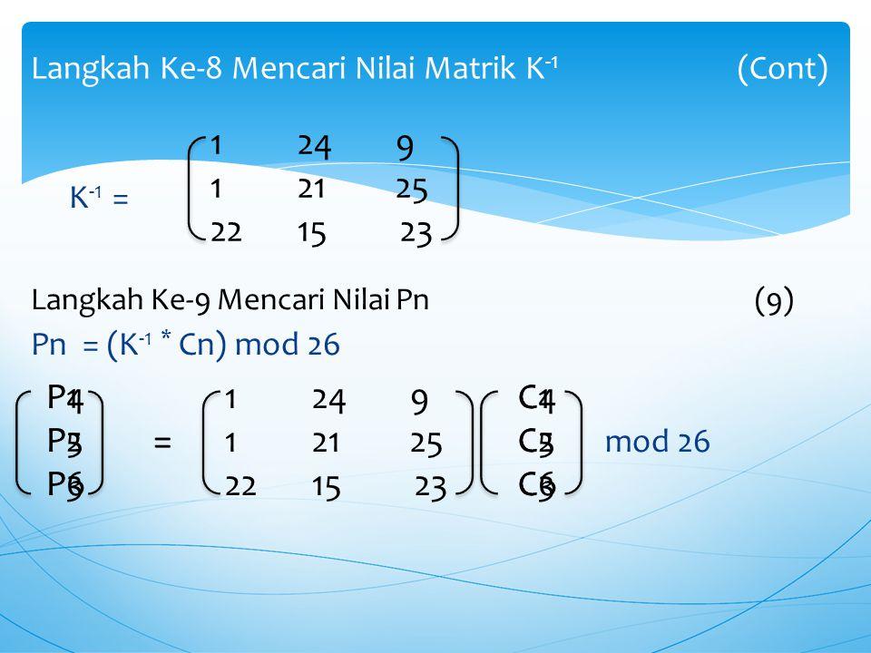 K -1 = (Z -1 * Adj(K)) mod 26  Z -1 = 23(6)  Adj(K)= K -1 = 23* mod 26 K -1 =mod 26 Langkah Ke-8 Mencari Nilai Matrik K -1 -165122 309 -217149 269 -