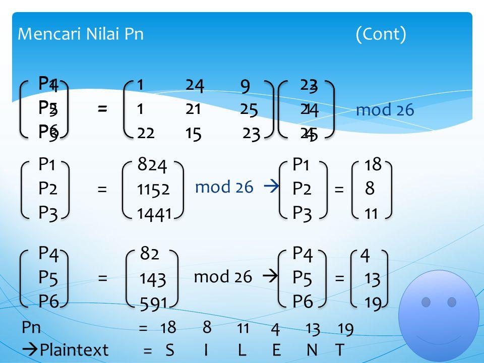 K -1 = Pn = (K -1 * Cn) mod 26 mod 26 Langkah Ke-8 Mencari Nilai Matrik K -1 (Cont) 124 9 121 25 2215 23 Langkah Ke-9 Mencari Nilai Pn (9) 124 9 121 2