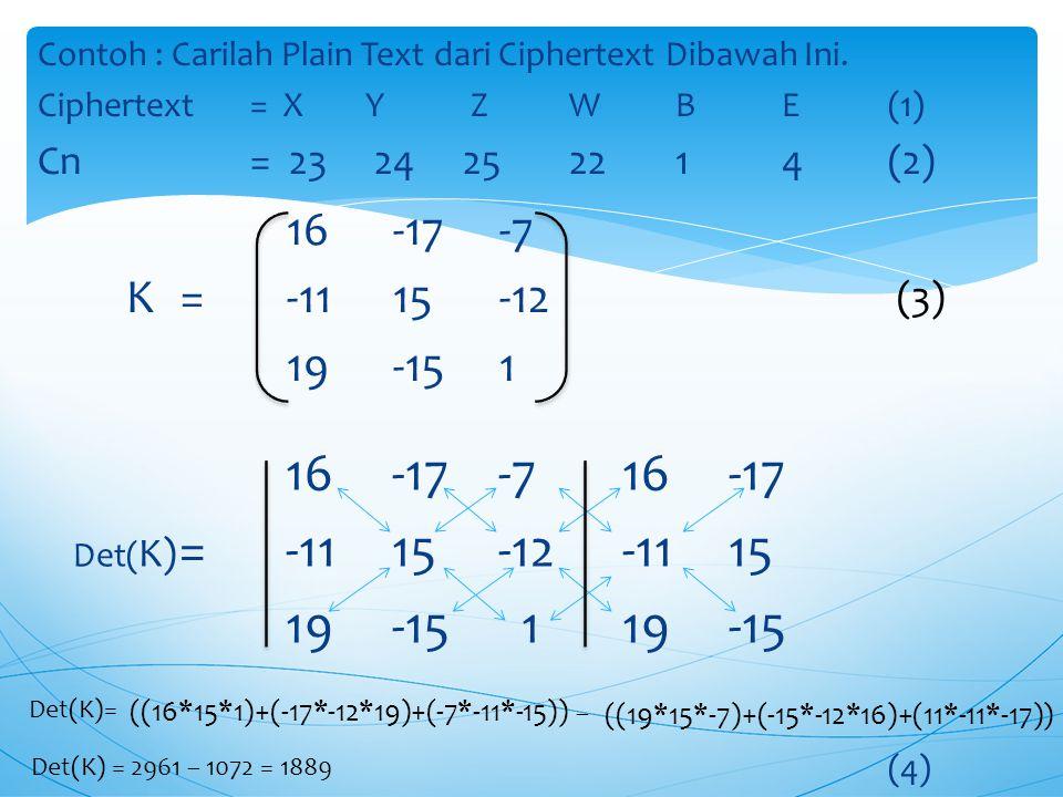 Langkah-Langkah Dekripsi: 1.Tentukan Cipher Text 2.Ubah Cipher Text Ke Bentuk Angka  C n 3.Tentukan Key Dalam Bentuk Matriks 3 x 3  K 4.Hitung Deter