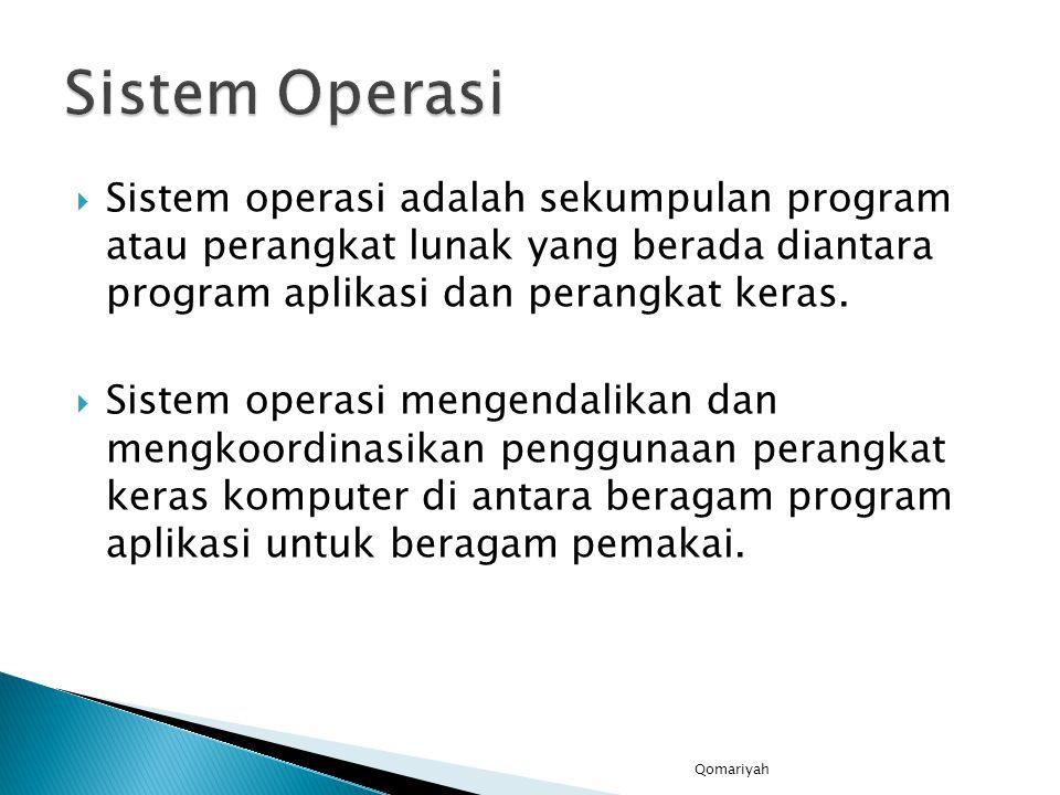  Sistem operasi adalah sekumpulan program atau perangkat lunak yang berada diantara program aplikasi dan perangkat keras.