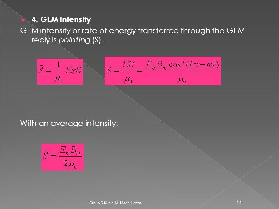 4. Intensitas GEM Intensitas GEM atau laju energi yg dipindahkan melalui GEM disebut pointing (S). Dengan intensitas rata-rata : 13 Group 6 Nurlia,Ni