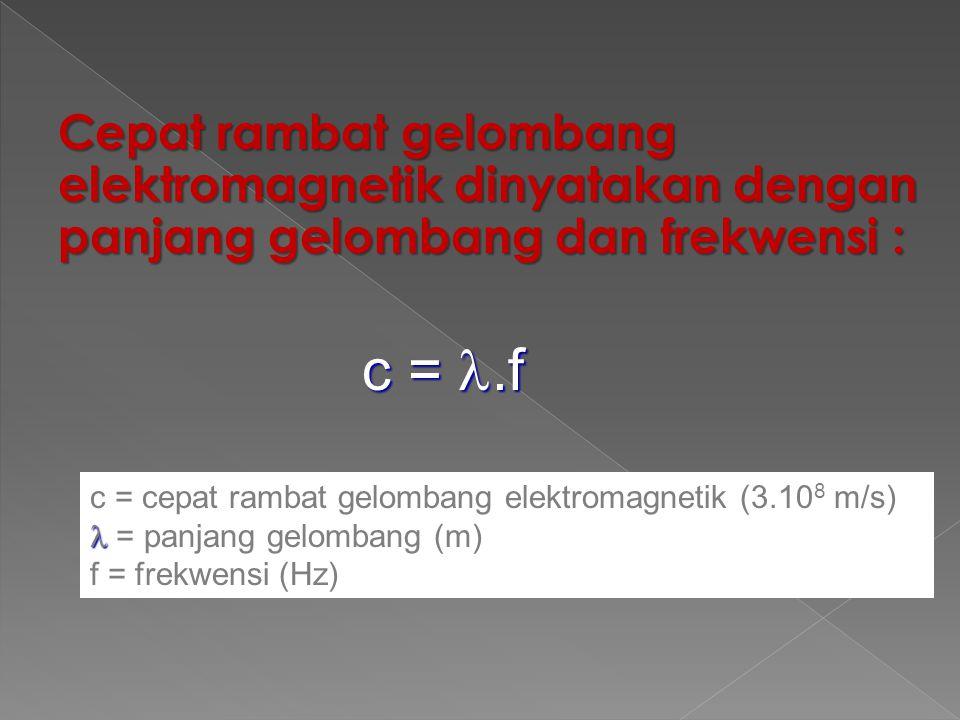 Kecepatan gelombang elektromagnetik sama dengan kecepatan cahaya yang dirumuskan :  o = 8.85 x 10 -12 C 2 /Nm 2  o = 12.56 x 10 -7 wb/amp.m C = 3. 1