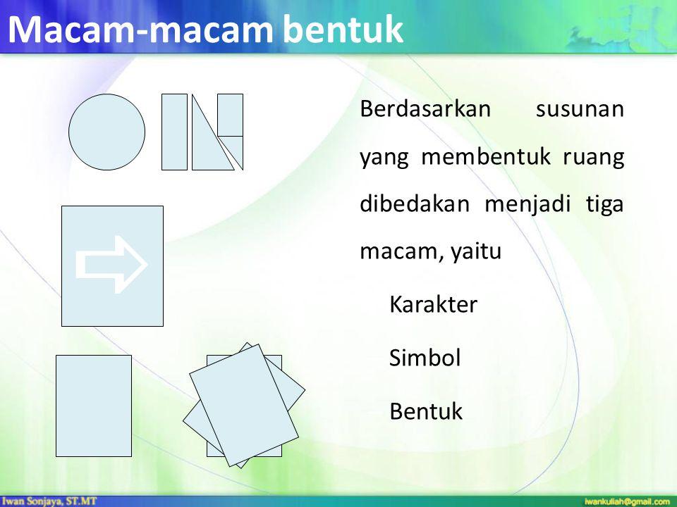 Macam-macam bentuk Berdasarkan susunan yang membentuk ruang dibedakan menjadi tiga macam, yaitu – Karakter – Simbol – Bentuk 