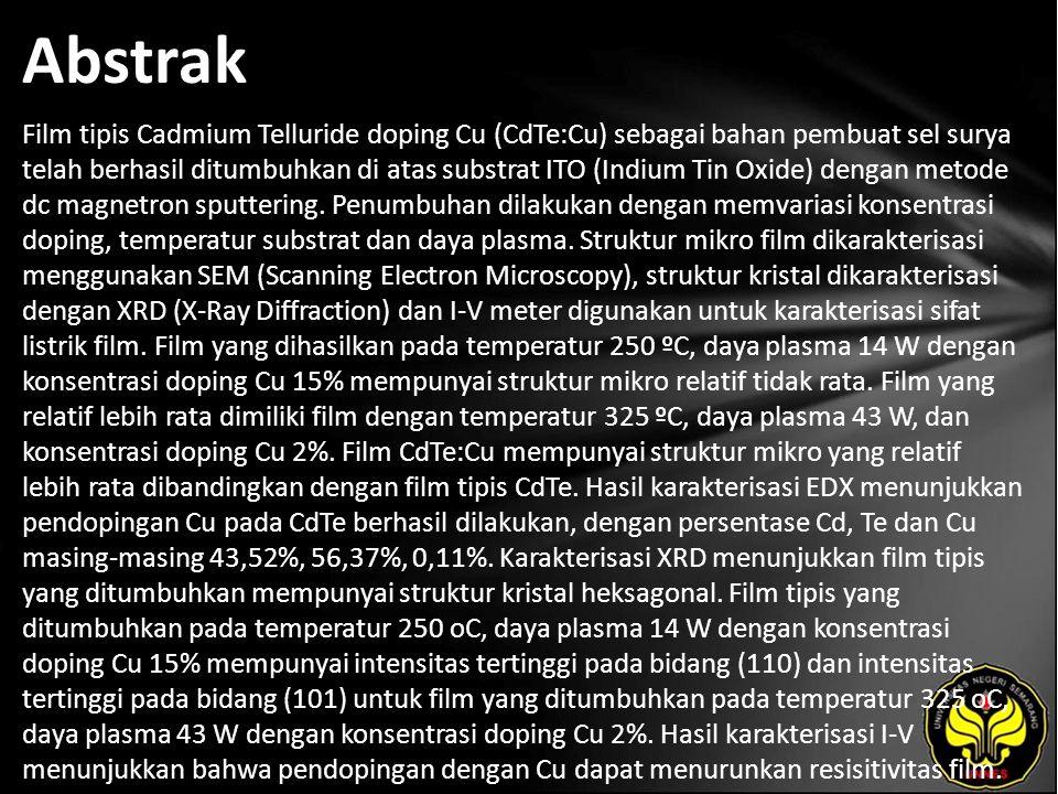Abstrak Film tipis Cadmium Telluride doping Cu (CdTe:Cu) sebagai bahan pembuat sel surya telah berhasil ditumbuhkan di atas substrat ITO (Indium Tin Oxide) dengan metode dc magnetron sputtering.