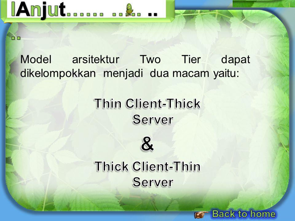 Model arsitektur Two Tier dapat dikelompokkan menjadi dua macam yaitu: